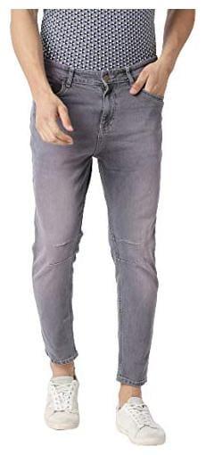 BOLTS & BARRELS Men Grey Tapered Fit Jeans