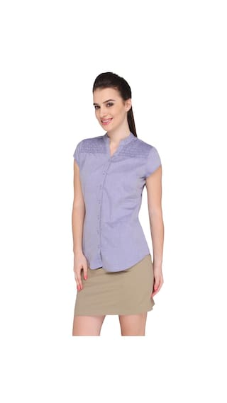 Bombay High Women's Polycotton plain Shirt(BH16WFSHT-006-BLUE-L)