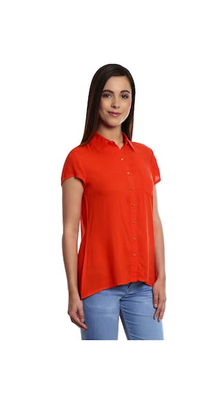 Bombay High Orange Rayon Womens Shirt