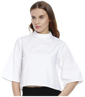 Bombay High White Cotton Crop Tops