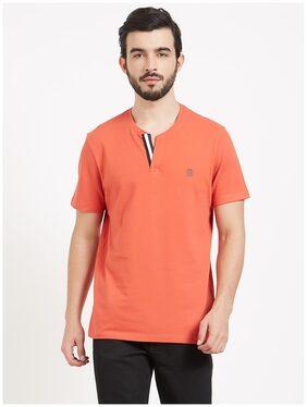 BONATY Men Regular Fit Henley Neck Solid T-Shirt - Orange