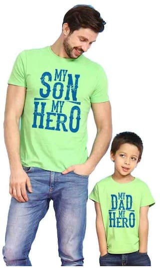 ba5be886 BonOrganik Bright Green My Son/Dad My Hero Father Son Best Family Matching  Father and