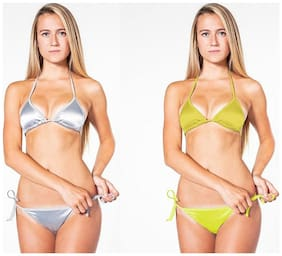 Boosah Grey And Yellow Satin Bikini Set Pack Of 2