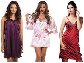 Boosah Multi Satin Nightwear Pack Of 3