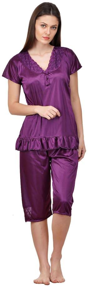 Boosah Women Satin Printed Top and Capri Set - Purple