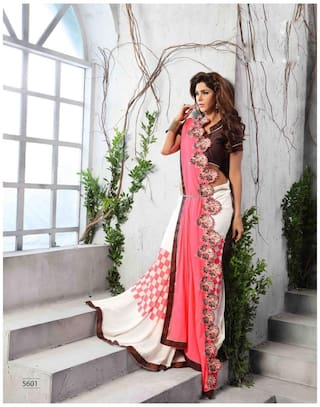 VIVELS Georgette Universal Embroidered work Saree - White , With blouse