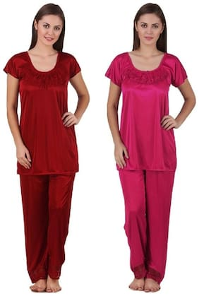 Bossah Satin Night Suit Set - Pack Of Two
