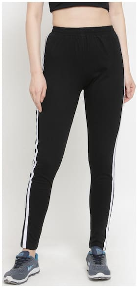 Boston Club Women Regular fit Cotton & Blended Solid Track pants - Black