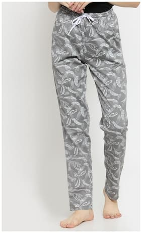 Boston Club Women Cotton Printed Pyjama - Grey