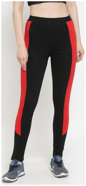 Boston Club Women Regular fit Cotton & Blended Solid Track pants - Black & Red