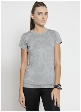 Boston Club Women Printed Sports T-Shirt - Grey