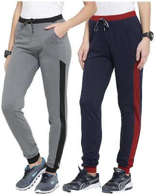 Boston Club Women Regular fit Polyester Solid Track pants - Grey & Navy