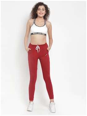 Boston Club Cotton Maroon Solid  Joggers  For Women