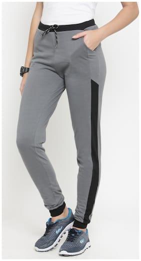 Boston Club Women Regular fit Cotton Solid Track pants - Grey