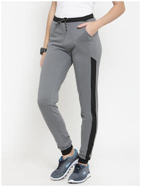 Boston Club Women Regular Fit Cotton Solid Track Pants - Grey