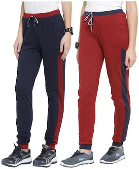 Boston Club Women Regular fit Cotton Solid Track pants - Maroon & Navy