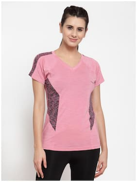 Boston Club Women Solid Sports T-Shirt - Pink