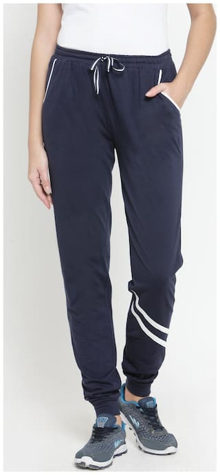 Boston Club Women Regular fit Cotton Solid Track pants - Navy