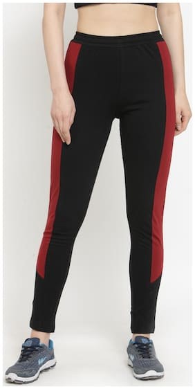 Boston Club Women Regular fit Cotton & Blended Solid Track pants - Black & Maroon