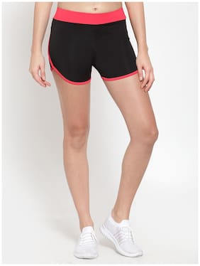 Boston Club Women Regular fit Polyester Solid Shorts - Black
