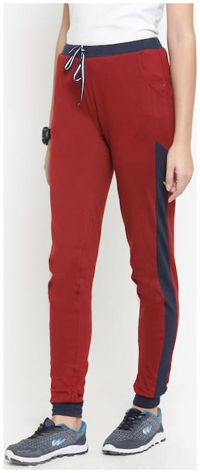 Boston Club Women Regular fit Cotton Solid Track pants - Maroon