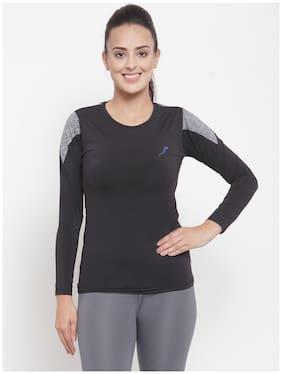 Boston Club Women Solid Sports T-Shirt - Black