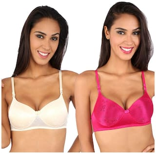 Bralux Cream And Blue Lace Pack Of 2 Padded Bra