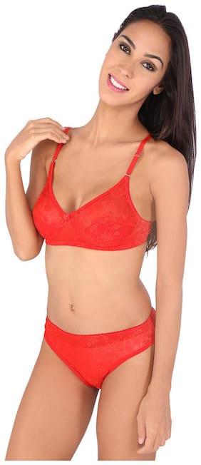 Bralux Red Linen Lingerie Sets