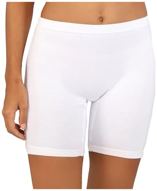 Bralux White Cotton And Spandex Shorts