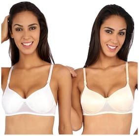 Bralux White And Cream Lace Pack Of 2 Padded Bra