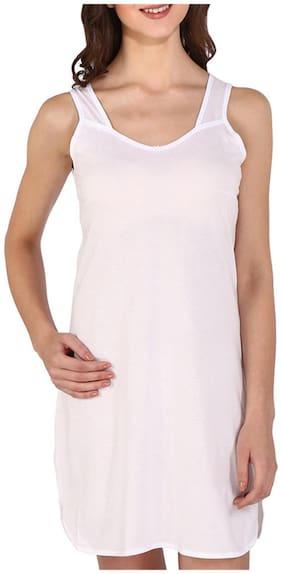 Bralux Women's Reshma Cotton Hosiery Full Slip Camisole White