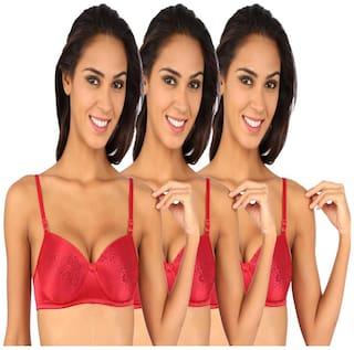 Bralux Women's Trishna Lace Padded B Cup Bra (Maroon_30)-Set of 3