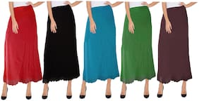 BRAND FLEX Women's Fine Knitted Sexy Inskirt Saree Petticoats with Lace (Free Size)(Pack of 5)