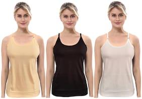 BRAND FLEX Women's Cotton Camisole (Pack of 3)