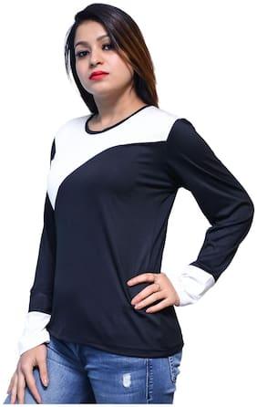 NICE QUEEN Women Blue Regular fit V neck Cotton T shirt