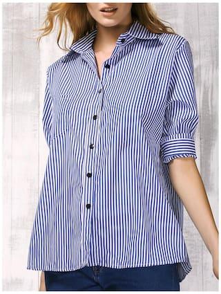 Shirt Collar Sleeve Shirt Women Striped Vertical Brief Long 's df5wdq