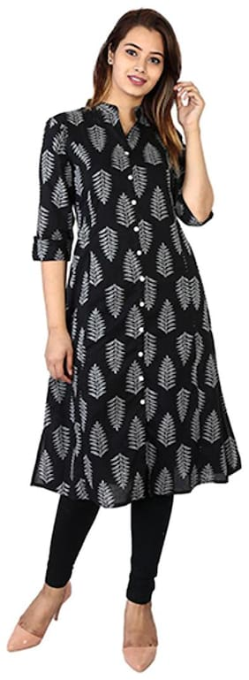 Bright Cotton Women Cotton Printed A line Kurta - Black