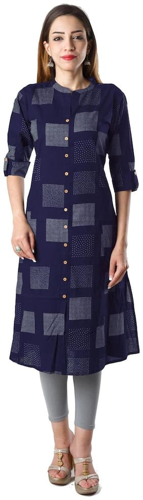 Bright Cotton Women Cotton Printed A line Kurta - Blue