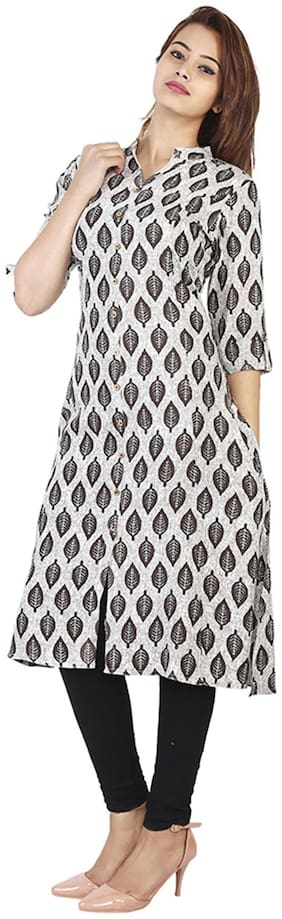 Bright Cotton Women Rayon Printed A line Kurta - Grey