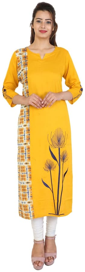Bright Cotton Women Cotton Printed Straight Kurta - Yellow