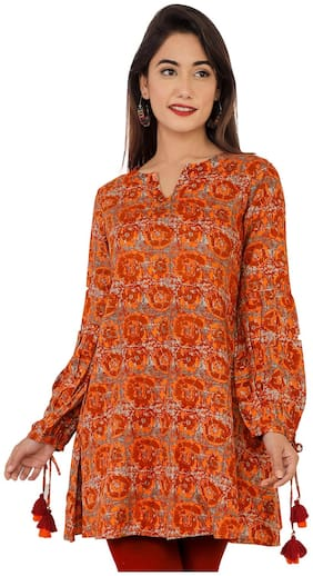 Bright Cotton Women Rayon Abstract Straight Kurti - Orange