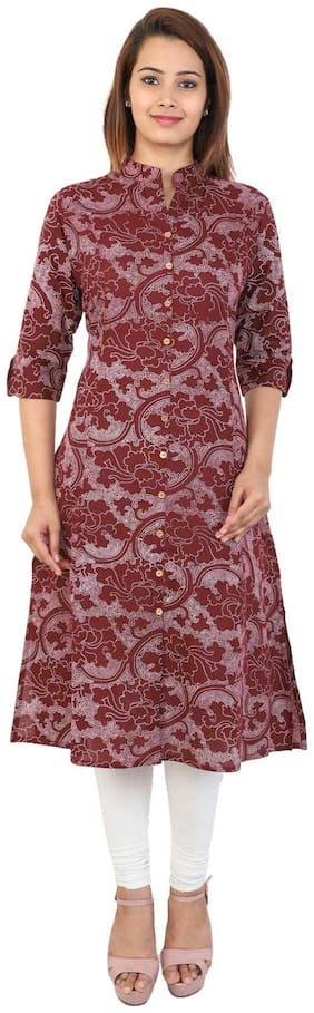 Bright Cotton Women Cotton Printed A line Kurta - Maroon