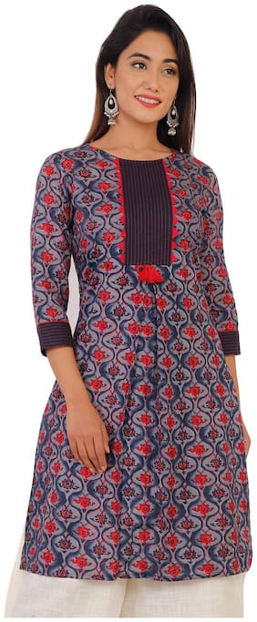 Bright Cotton Women Cotton Floral Straight Kurta - Multi