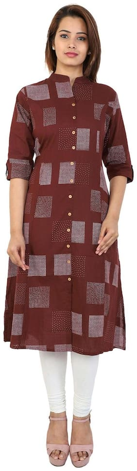 Bright Cotton Women Cotton Abstract A line Kurta - Maroon