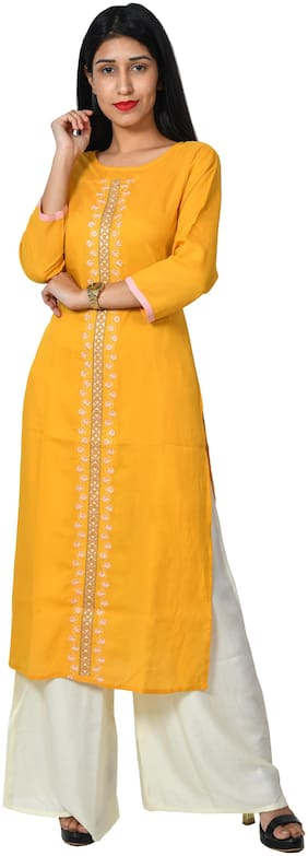 Bright Cotton Women Rayon Embroidered Straight Kurta - Yellow
