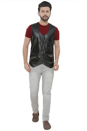 Brinley Men Blended Regular fit Waistcoat - Black