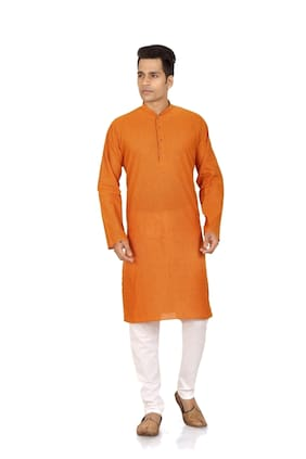 Brinley Solid Light Orange Kurta Pyjama Set For Mens