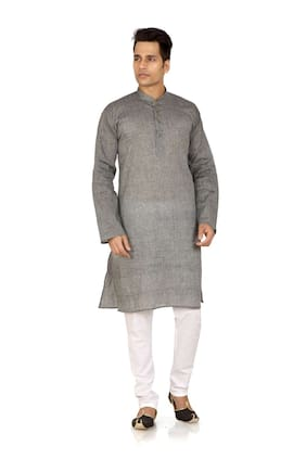 Brinley Solid Dark Grey Kurta Pyjama For Mens