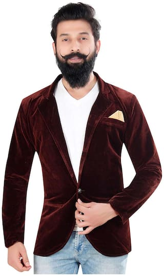 Brinley Solid Casual Maroon Velvet Blazer For Mens