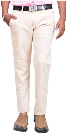 British Terminal Men White Solid Slim fit Regular trousers